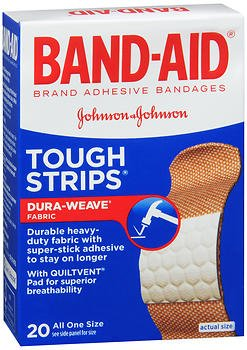 Bandages Extra Large Tough Strips - Band-Aid Tough Strips Adhesive Bandages All One Size - 20 ct, Pack of 4