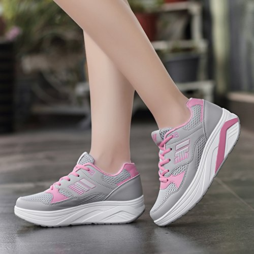 Shape Shoes Pink Work Women Sneakers Fashion Mesh Wedges Platform EnllerviiD Grey 966 Out Fitness Ups Sports SBFxU