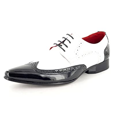 Mens Black white Patent Leather Look Pointed Toe winkle pickers Dress Dinner Suit Brogues Shoes 6 7