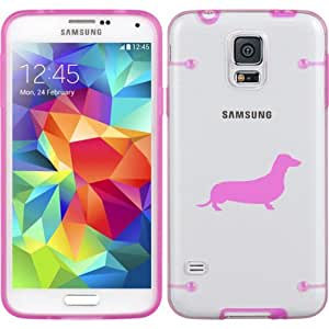 Hot Pink Samsung Galaxy Ultra Thin Transparent Clear Hard TPU Case Cover Dachshund (Hot Pink for S3)