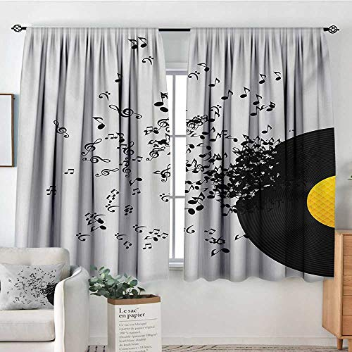 (Mozenou Music Blackout Window Curtain Abstract Design Flying Music Notes Disc Album Dancing Nightclub Print Blackout Draperies for Bedroom 72