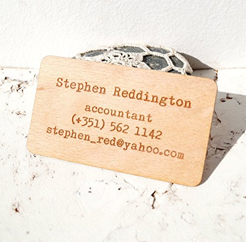 Wooden veneer business cards, engraved real wooden veneer business cards - Set of 100