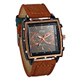 JewelryWe Fashion Big Square Face Analog Date Mens Quartz Watch with Coffee Leather Strap
