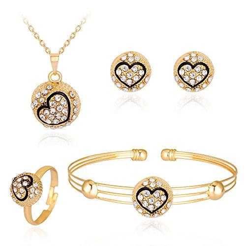 Gbell Clearance! Lady Women Fine Jewelry Set Statement - Personality Rhinestone Necklace Pendant Bracelet Ring Earrings Jewelry Set Charm for Women's Girls Anniversary Wedding Party Date Casual (N) - Garnet Marcasite Jewelry Set
