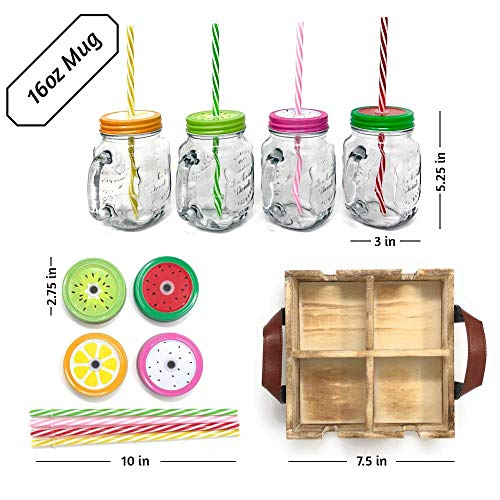TheBarsentials Mason Jar Mugs with Handles with Stainless Steel Lids and Reusable Straws, Set of 4 x 16oz Clear Glass Pint, Old Fashioned Drinking Cup in Rustic Wooden Tray by TheBarsentials (Image #4)