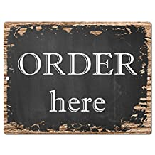"""Order here Sign Rustic Vintage Retro Kitchen Bar Pub Coffee Shop Wall Decor 9""""x12"""" Metal Plate Sign Home Store Decor Plaques"""
