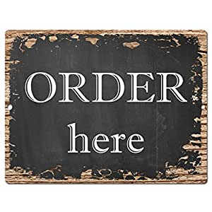 Order here sign rustic vintage retro kitchen for Bar decor amazon