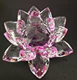 Crystal Lotus Flower Purple/Clear Color 5 X 5 X 3 inches with Light Stand; Plus a Free Gift Cellphone Anti-dust Plug