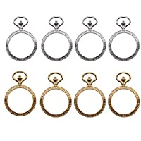WSSROGY 20 Pieces Open Back Bezel Pendant Round Resin Bezel Charms DIY Jewellery - 50x35mm, Gold and Silver