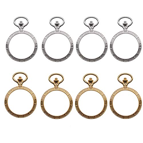 Charm Jewelry Resin (WSSROGY 20 Pieces Open Back Bezel Pendant Round Resin Bezel Charms DIY Jewellery - 50x35mm, Gold and Silver)