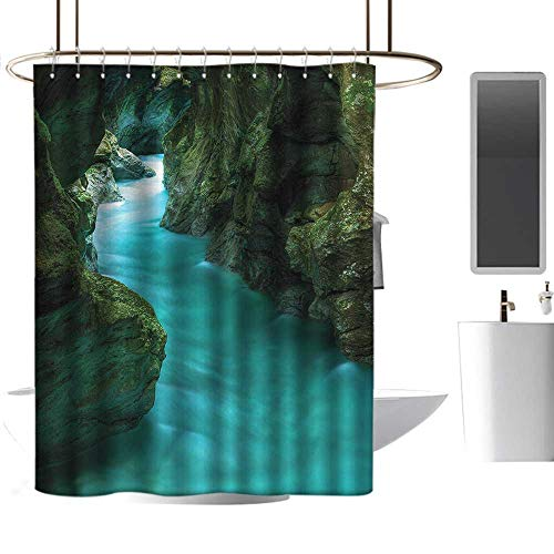 TimBeve Shower Curtain Hooks Waterfall,Alpine River Caves Travel,Hand Drawing Effect Fabric Shower Curtains 70