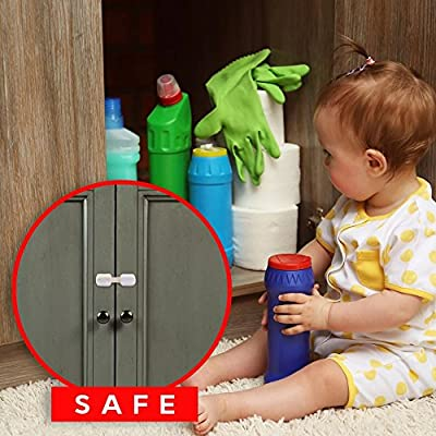 Refrigerator Door Locks for Baby Child Safety with Top Latches Fridge Protector to Stop your Munchkin Monkey from Disaster - also works on Folding Cabinets, Cupboard, Drawers for Protective Purposes