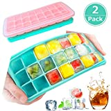 Ice Cube Trays with Lids, DAYOO 2 Pack Silicone Ice Cube Trays Flexible and Easy Release 24 Ice Cube Molds for Whiskey, Cocktails - BPA Free, Stackable Durable, Dishwasher Safe