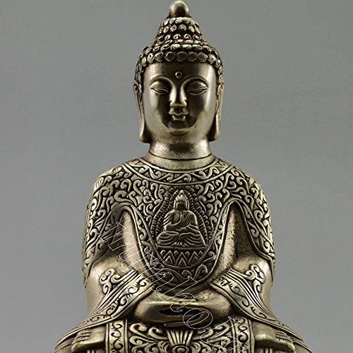 Vintage Home Decor Handwork Tibet Silver Carved Buddha Statue China Old Folk Art Collectible Antique Business Gift Souvenirs