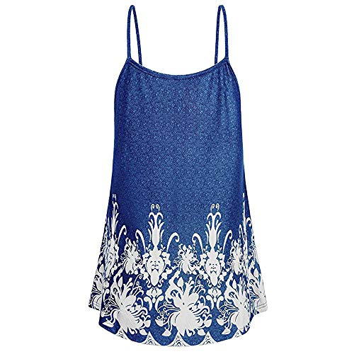 Vickyleb Sexy Vest for Women Sleeveless Camisole Top Summer Printing Shirts Ladies Sling Top Casual Tank T-Shirt Blue by Vickyleb Women Shirts (Image #1)