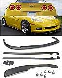 For 2005-2013 Chevrolet Corvette C6 Base Models | EOS ZR1 Style ABS Plastic PRIMER BLACK Front Bumper Lip Splitter With Side Skirt Panels Mud Flaps Pair & Painted Black Rear Spoiler Wing COMBO KIT