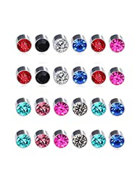 Spiritlele 12 Pairs Colors Crystal Magnetic Stud Earrings Set CZ Non Piercing Clip on Earrings Pack