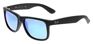 272ee9b74f5 Image Unavailable. Image not available for. Color  Ray Ban RB4165 622 55  55mm Black Rubber Blue Mirror Justin Bundle-2