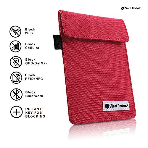 Silent Pocket Signal Blocking Faraday Key Fob Case – Car Anti Theft Device Shielding Against All Signal Types, Including RFID Blocking & Durable Faraday Bag, Fits Most Car Keyfobs (Red)