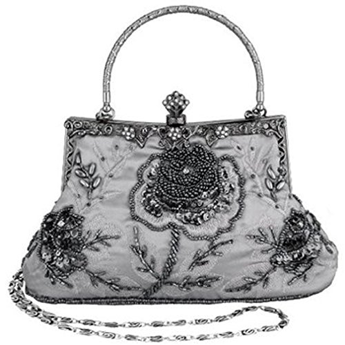 Belsen Women's Vintage Beaded Sequin Evening Handbags (Grey)
