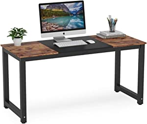 Tribesigns Computer Desk, 55 inch Large Office Desk Computer Table Study Writing Desk for Home Office, Double Color