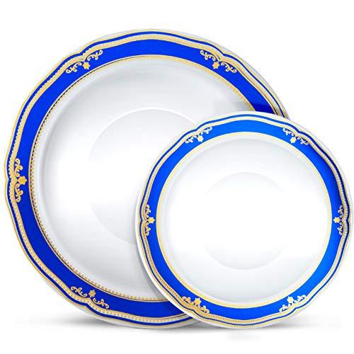 Laura Stein Designer Dinnerware Set | 32 Disposable Plastic Party Bowls | White Wedding Bowl with Blue Rim & Gold Accents | Includes 16 x 12 oz Soup Bowls + 16 x 5 oz Dessert Bowls | Cobalt Blue