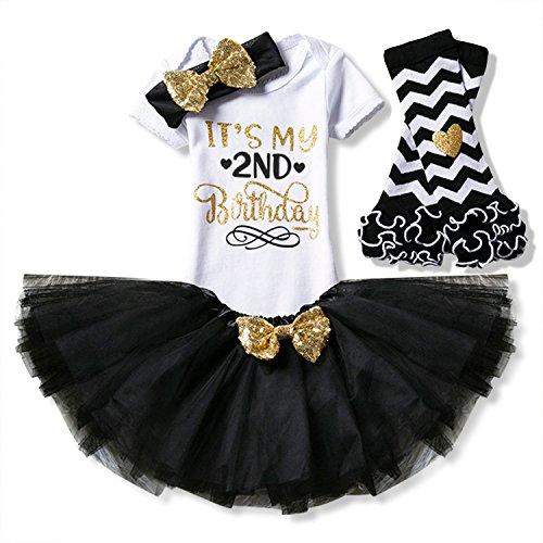 TTYAOVO Newborn Girls It's My 2nd Birthday 4 Pcs Outfits Romper+Skirt+Headband+Leggings Size (2) 2 Years Black -