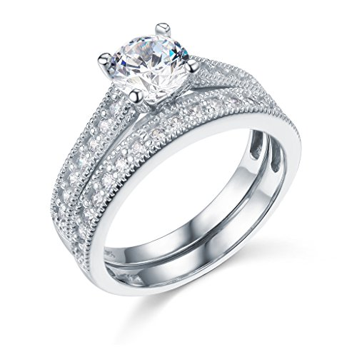 14k-White-Gold-SOLID-Wedding-Engagement-Ring-and-Wedding-Band-2-Piece-Set