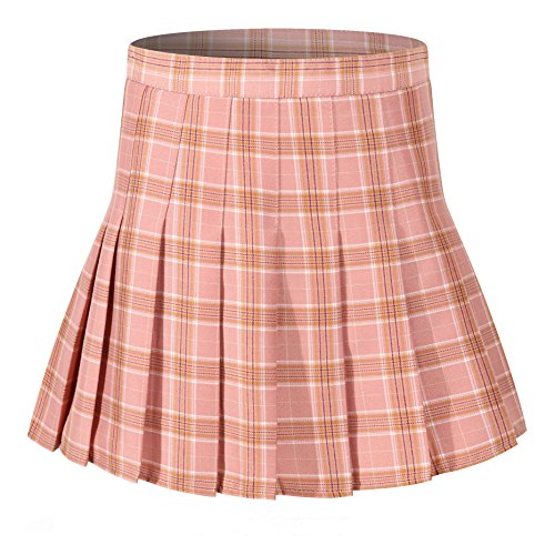Women's Pleated Checked sexy Mini Slim Sports Tennis skirt costumes ( L,Pink white) (Checked Kilt)