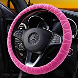 Mayco Bell Steering Wheel Cover Faux Fur Winter Warm Steering Wheel Wrap Fits Most Car 37cm 38cm Size Interior Accessories Pink