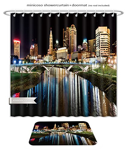 Minicoso Bath Two Piece Suit: Shower Curtains and Bath Rugs Columbus Ohio Night Skyline From The The Main Street Bridge Shower Curtain and Doormat - Ohio Macy's Columbus