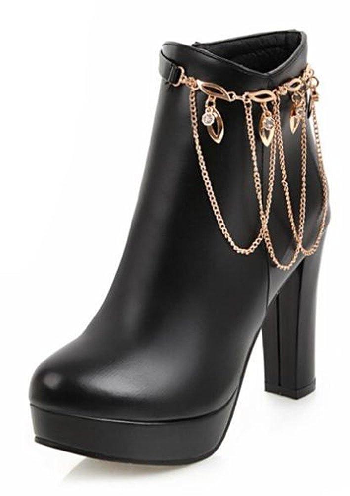 Easemax High Damen Elegant Hohe Plateau Zipper High Top High Easemax Heels Pumps Stiefeletten Schwarz bcc0e5