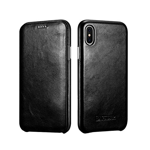 iPhone X Leather Case,RUIHUI Genuine Vintage Leather Side Open Case in Slim Thin Design, Flip Folio Style Cover with Magnetic Closure for Apple iPhone X 2017 Release (2-Black)