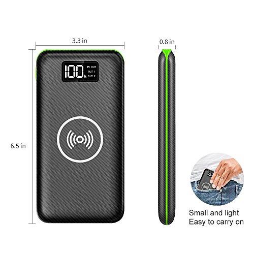 convenient Charger vitality Bank KEDRON 24000mAh wireless Charger through LED Digital exhibit and 3 Outputs double Inputs External Battery Pack for iPhone XiPhone 8Samsung Galaxy S8 Note 8 and additional Green External Battery Packs