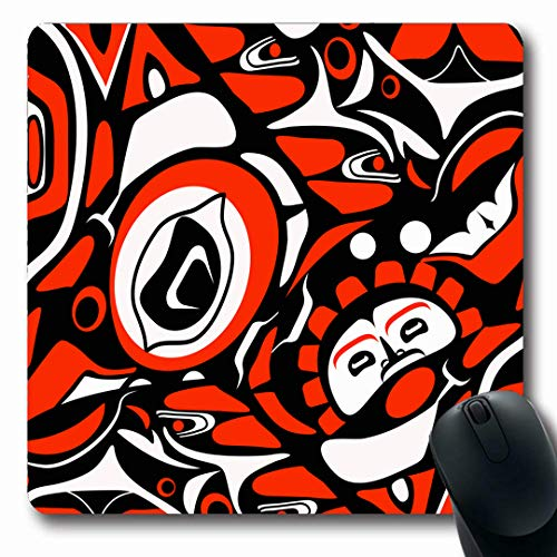 (Ahawoso Mousepads Canadian Abstract Red Native North American Mask Pattern Indigenous Tribal Haida Northwest Design Oblong Shape 7.9 x 9.5 Inches Non-Slip Gaming Mouse Pad Rubber Oblong Mat)