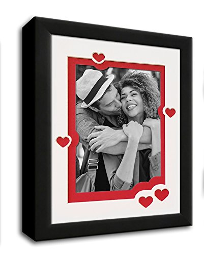 Heart & Love Picture Frame - Black Wood Frame With Heart Shaped Double Mat for 4x6 photo