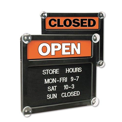 Quartet 81301 Open/Closed Sign,318 Characters F/Custom Msgs,14''x12'',BK