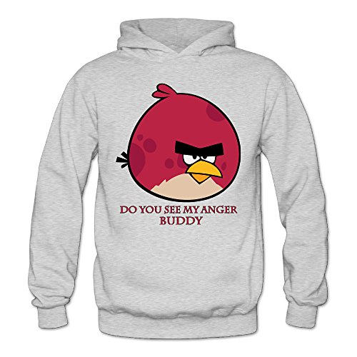 MARC Women's Do You See My Anger Buddy Hooded Sweatshirt Ash Size M - Angry Birds Slipper Socks