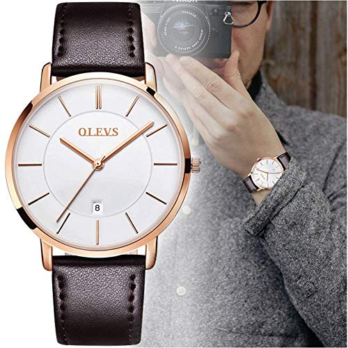OLEVS Men's Ultra Thin Minimalist Wrist Watch Analog Quartz Deep Blue Dial and Leather Band Watches - Calendar Date Waterproof Quartz Casual Watch Simple Leather Band Watch Mens Sports Watches