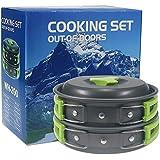 Suliper Camping Cookware Mess Kit Backpacking Gear & Hiking Outdoors Bug Out Bag Cooking Equipment Cookset | Lightweight, Compact, Durable Pot Pan Bowls - Free Folding Spork, Nylon Bag, Ebook (Green)