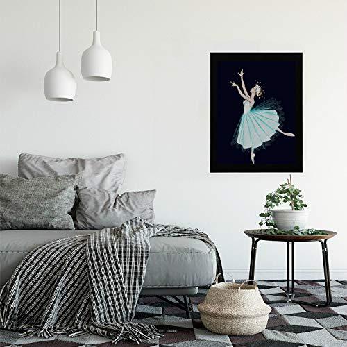 Hanging Picture Frames Elegant Dancing Ballerinas for Girls Modern Wooden Framed Vintage Wall Art Painting Print Hangings for Bedroom Living Room Gameroom Wall Decor