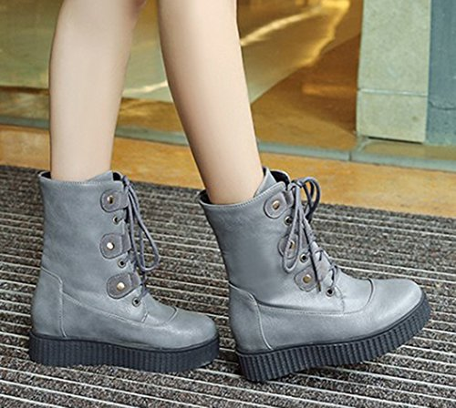Round Aisun Thick Casual Platform Booties Gray Up Boots Short Flat Comfy Ankle Lace Womens Toe Sole wwvSf1