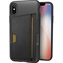Silk iPhone X Wallet Case - Q CARD CASE [Slim Protective Kickstand CM4 iPhone 10 Grip Cover] - Wallet Slayer Vol.2 - Black Onyx