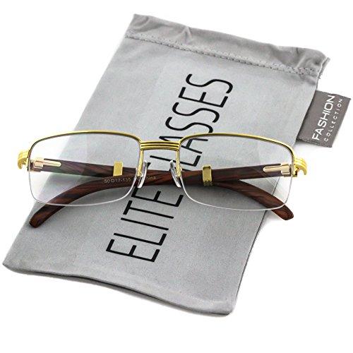 Elite WOOD Art Nouveau VINTAGE Semi Rimless Style Gangster RICH Frame EyeGlasses (Gold Brown, 2.2) ()