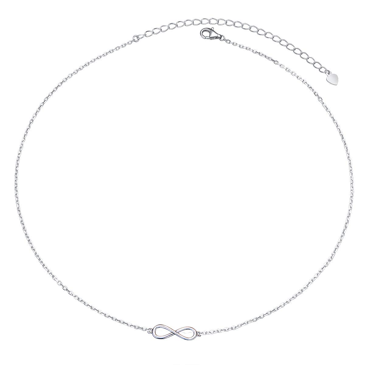 S925 Sterling Silver Choker Infinity Clavicle Dainty Short Pendant Necklace for Women Girl