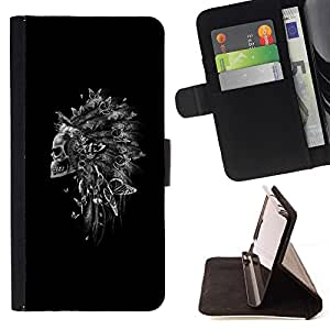 For Sony Xperia m55w Z3 Compact Mini Indian Feather Headdress Black Skull Beautiful Print Wallet Leather Case Cover With Credit Card Slots And Stand Function