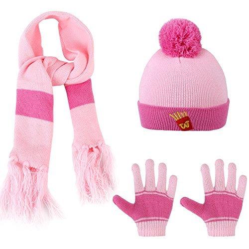 Vbiger Knitted Hat Scarf And Gloves Set For Kids (Pink)