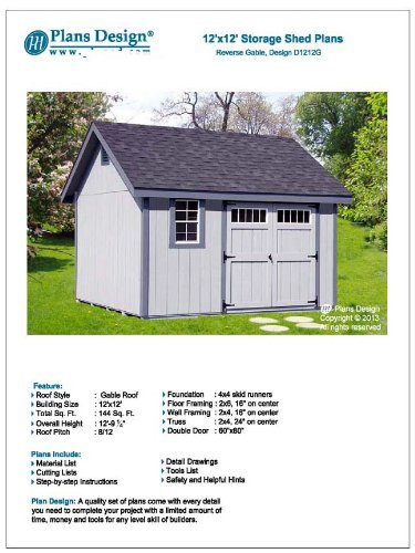 Shed Plans, Do It Yourself 12' x 12' Reverse Gable Roof Style Design # D1212G, Step By Step Included