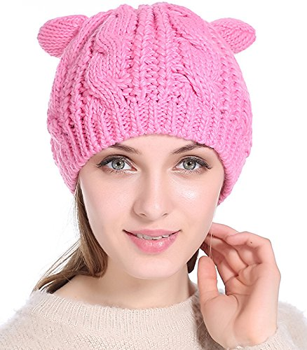 daa383d453b JOKHOO Women s Hat Cat Ear Crochet Braided Knit Caps Beanie (Pink ...