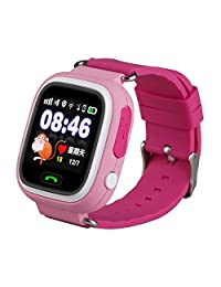 GSM GPS Tracker Smart Watch Location Finder Locator Device Tracker Satellite Safe Anti-Lost Android & IOS SOS Monitor Kids Children (Pink)